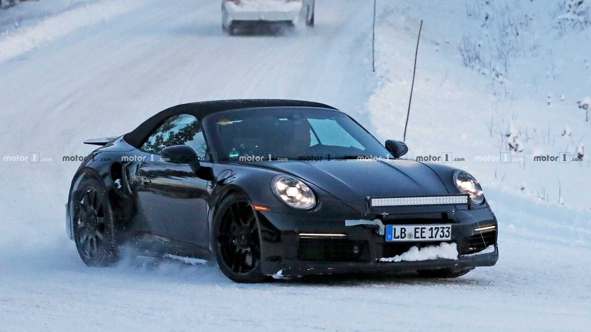 ca7a63bbc044 2020 Porsche 911 Turbo S Cabrio Spied Sliding Through Snow