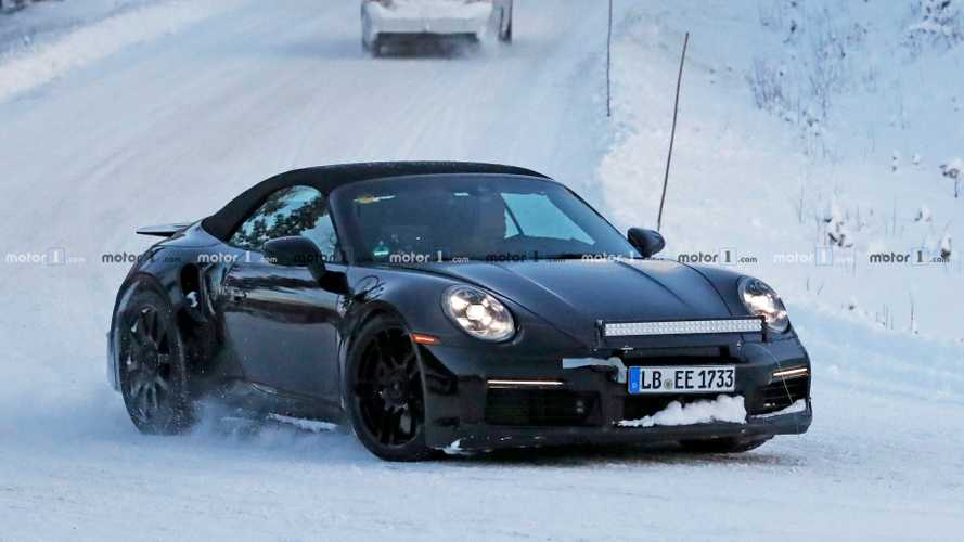 2020 Porsche 911 Turbo S Cabrio Spied Sliding Through Snow