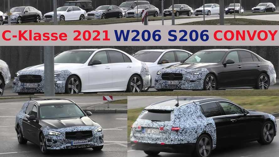 2022 Mercedes C-Class Convoy Of Seven Prototypes Spied At Red Light