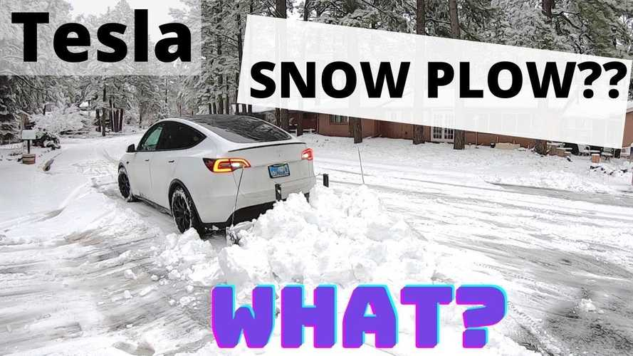 Check Out World's First Tesla Model Y Snow Plowing Business In Action
