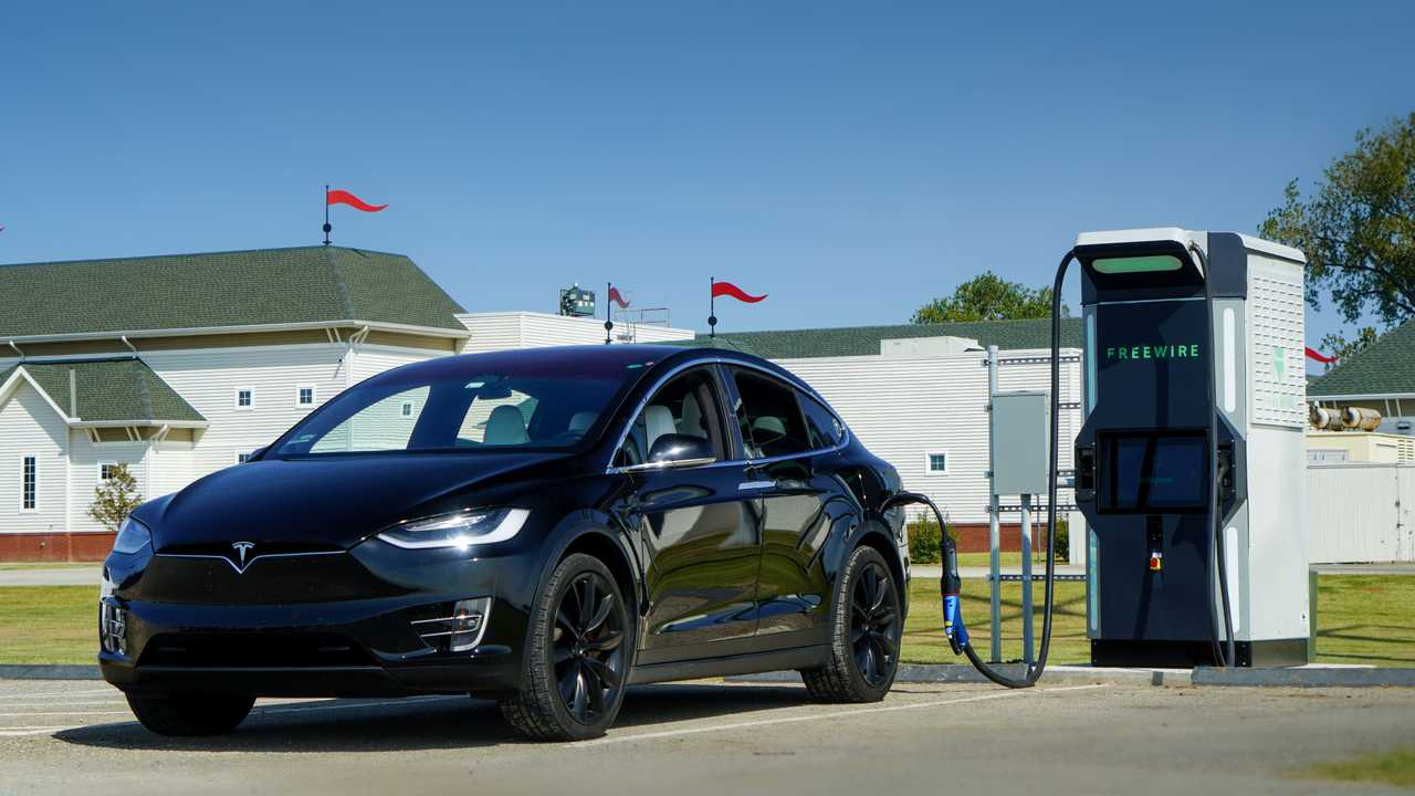 Tesla Model X charging at FreeWire's Boost Charger