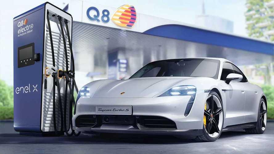 Ricarica ultrafast nei benzinai: accordo tra Porsche, Q8 e Enel X