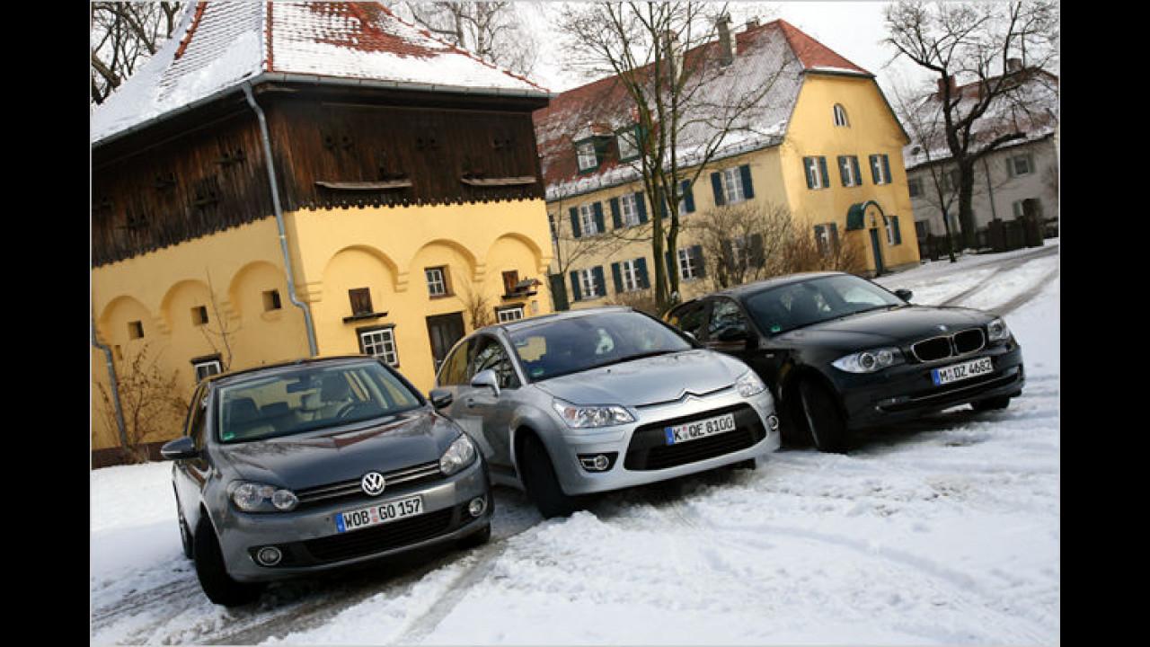 Kompakte im Vergleich: VW Golf gegen BMW 1er und Citroën C4