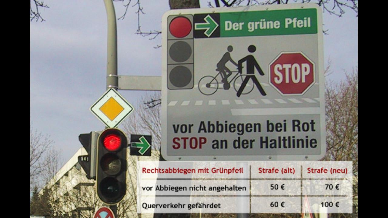 Beim Grünpfeil gilt: Erst anhalten, dann fahren