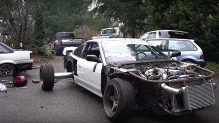 Crazy Guys Swap Lawnmower Engine Into Mazda Protege
