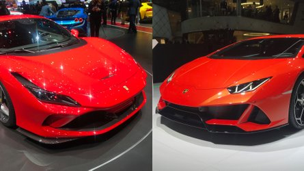 Ferrari F8 Tributo e Lamborghini Huracan Evo da vicino a Ginevra