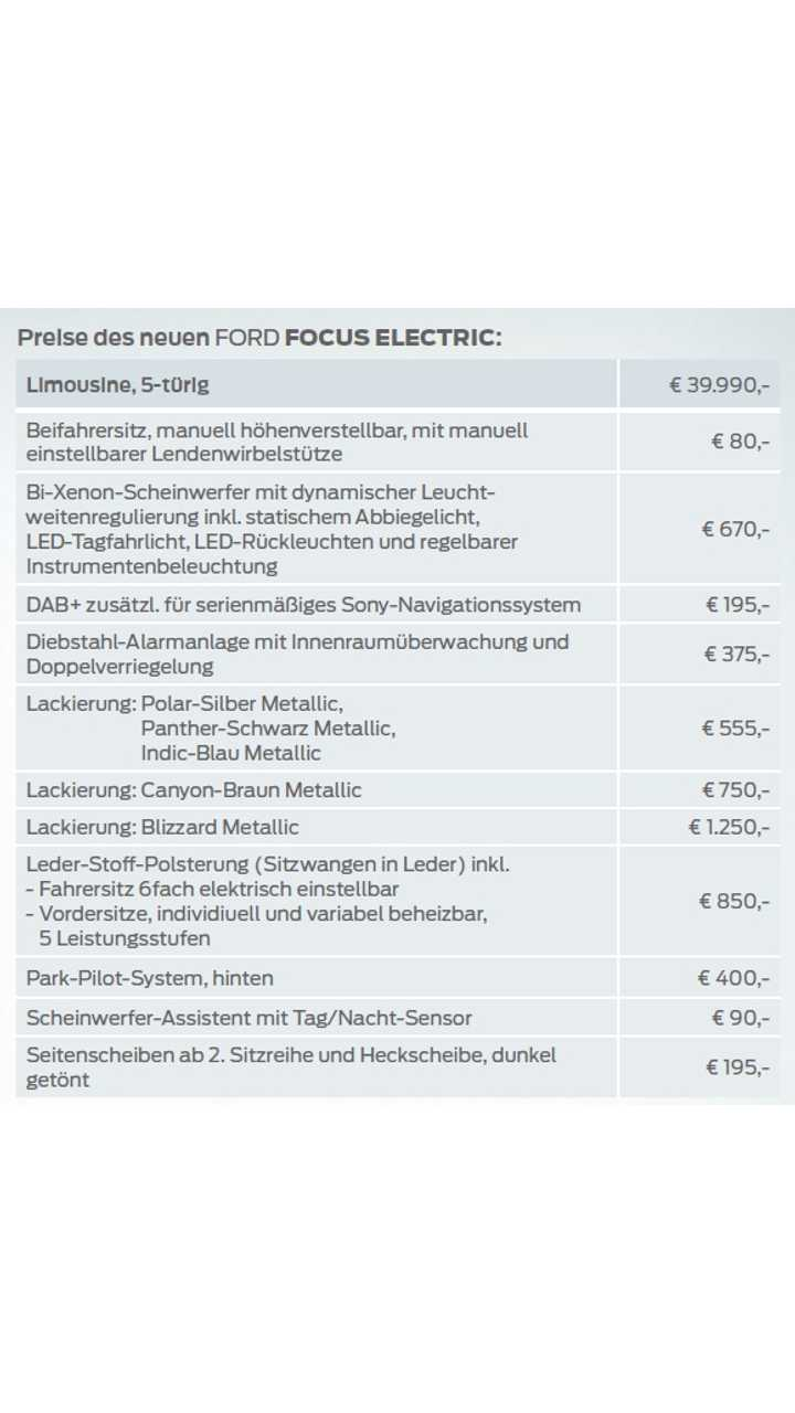 Ford Focus Electric Price in Germany