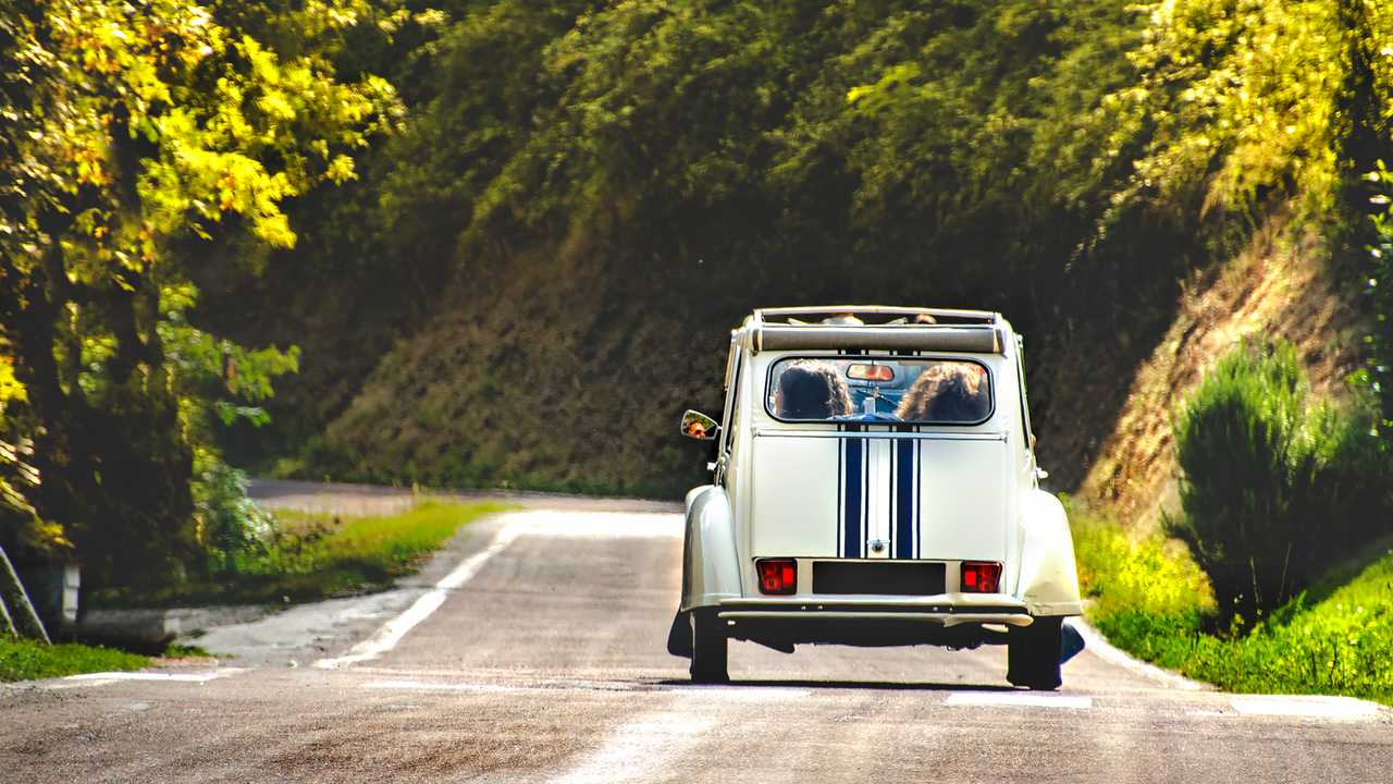 Citroen 2CV on country road in Bologna Italy