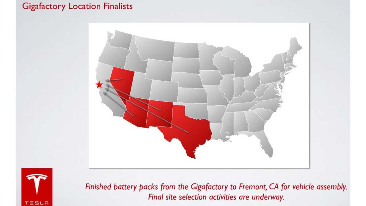 Nevada Is Currently Projected As The Front-Runner For Tesla's Battery Facility