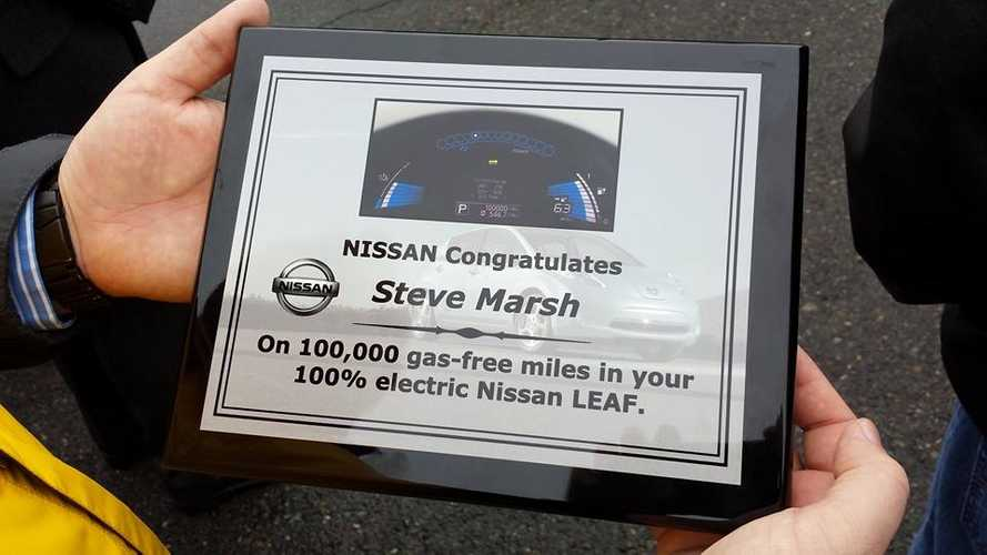 US' First 100,000-Mile Nissan LEAF Owner Receives Multiple Honors in Washington