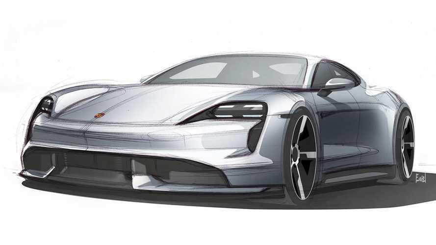 Porsche Taycan, i bozzetti e le foto della GT elettrica