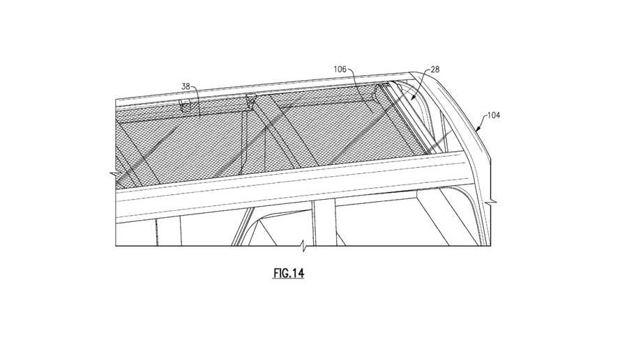 Ford's retractable cloth roof patent drawing