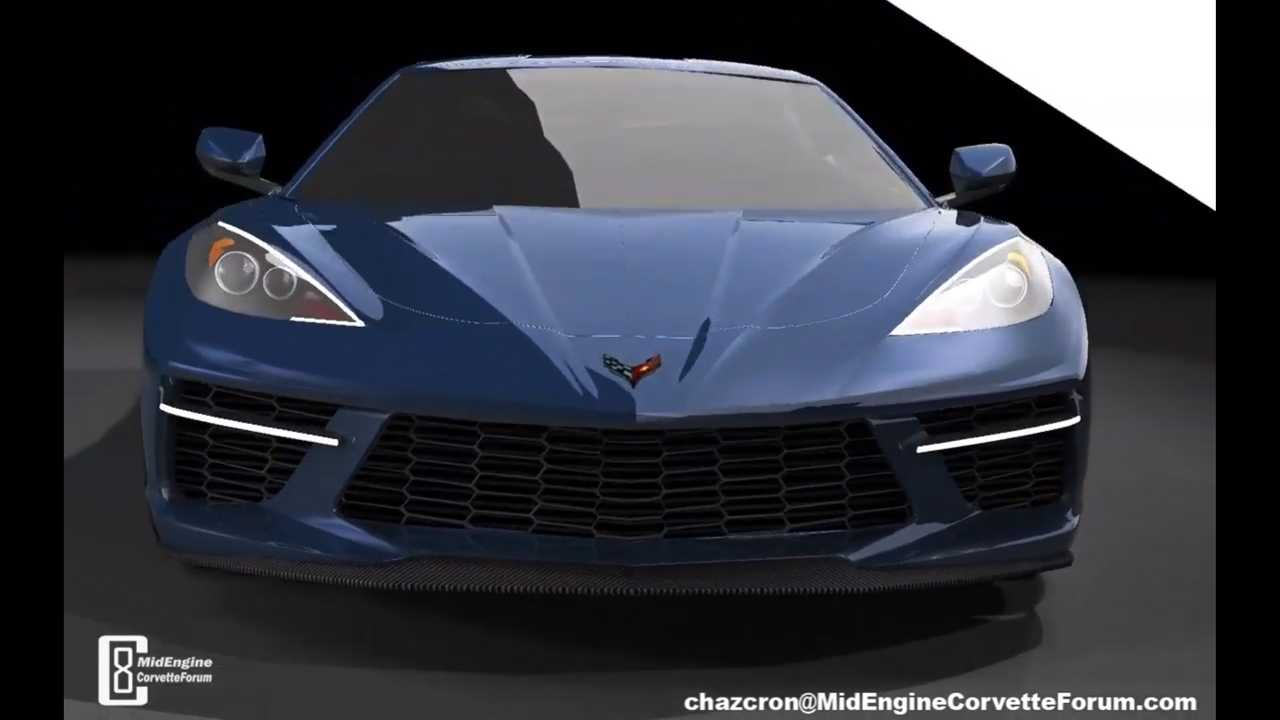 Ortadan motorlu Corvette render