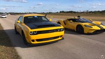 Ford GT Vs Dodge Challenger Demon Drag Race
