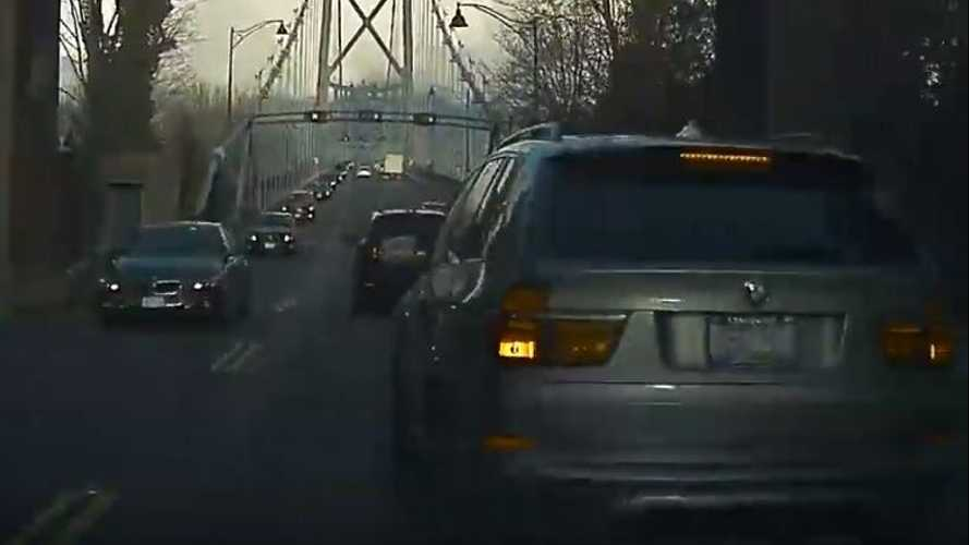 Watch This BMW SUV Cut Off And Brake Check A Tesla