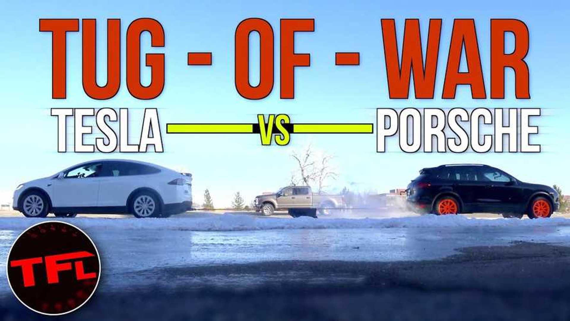 Watch Tesla Model X, Porsche Cayenne, Ford F-250 Tug Of War Battle