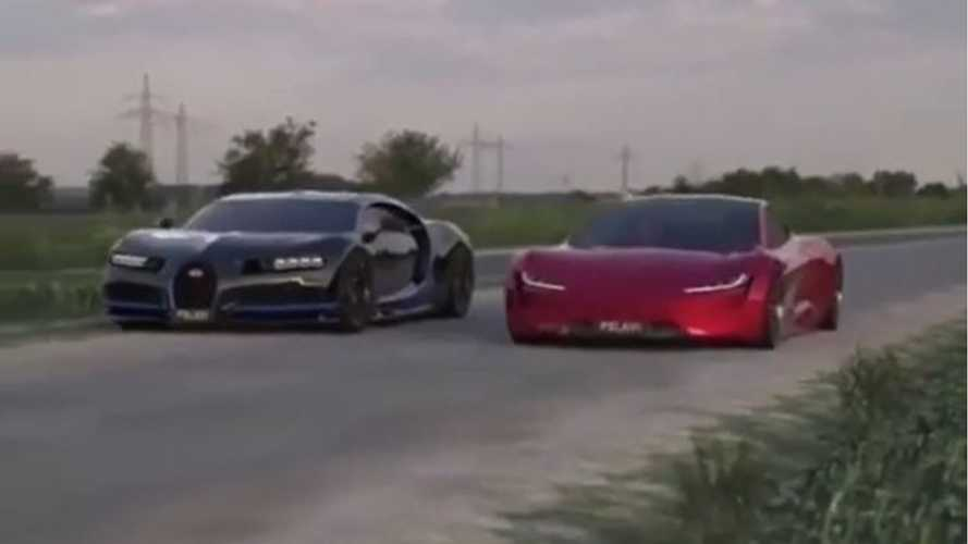 Watch Tesla Roadster Versus Bugatti Chiron In Simulated Race