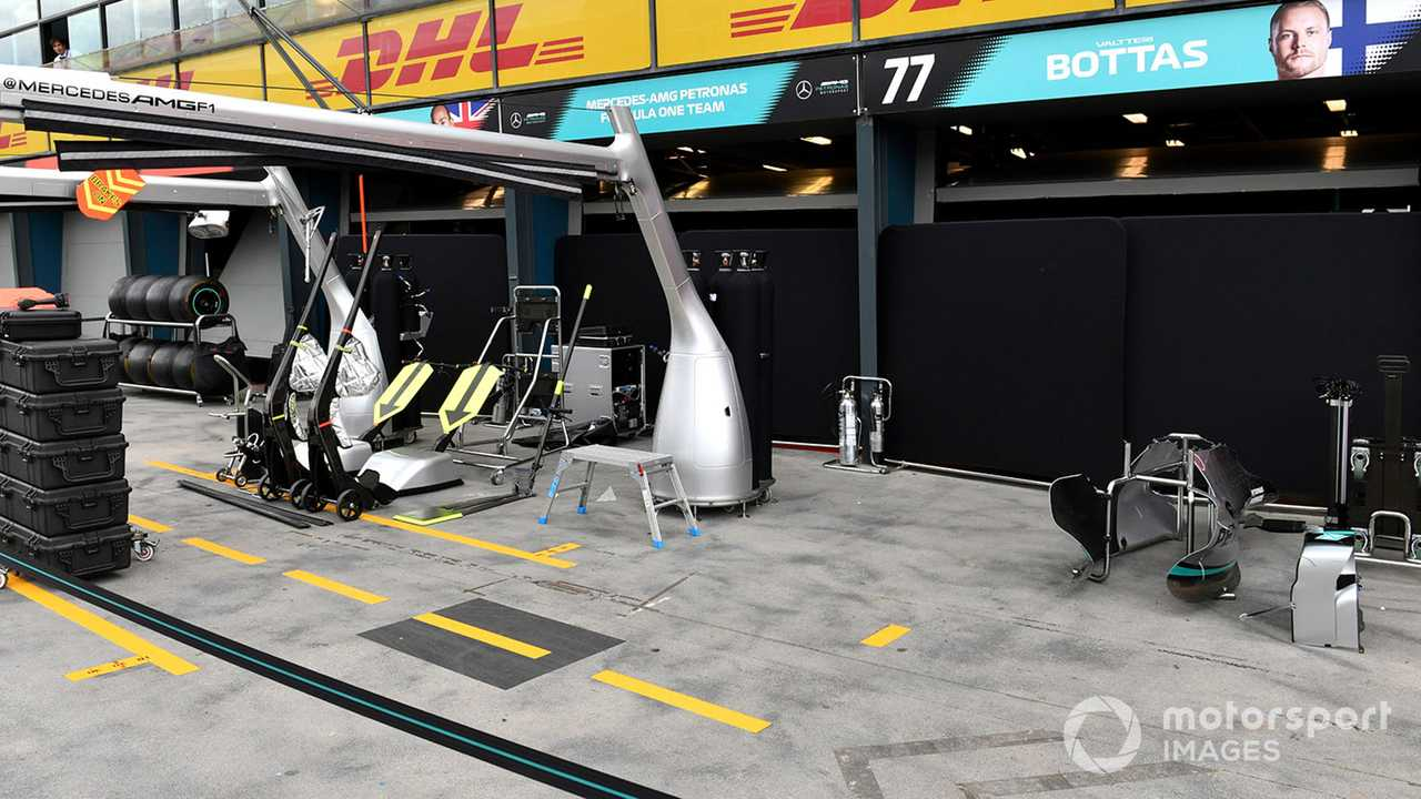 Equipment is packed away outside the Mercedes garage at Australian GP 2020