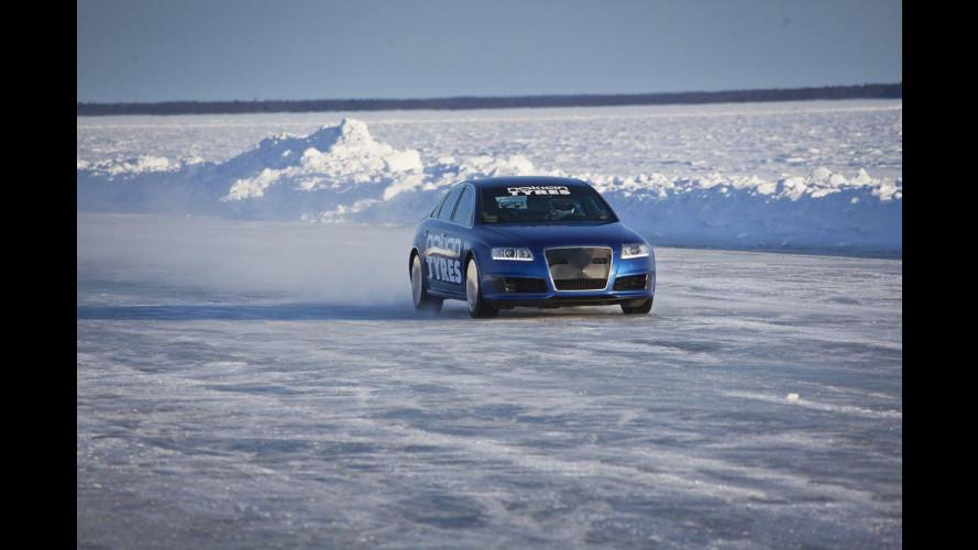 Un'Audi RS6 gommata Nokian è l'auto più veloce sul ghiaccio
