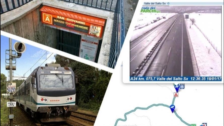 Terremoto Centro Italia e neve: la situazione di metro, treni e autostrade