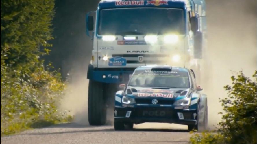 Sfida da brividi tra auto e camion da rally