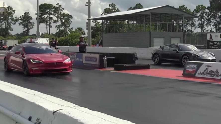 Tesla Model S Plaid seeks drag racing revenge against Porsche Taycan