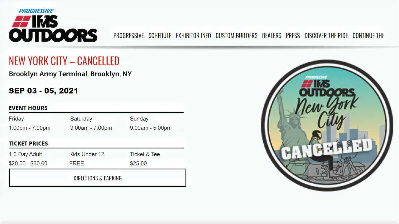 Progressive IMS Outdoors NYC Canceled 2021
