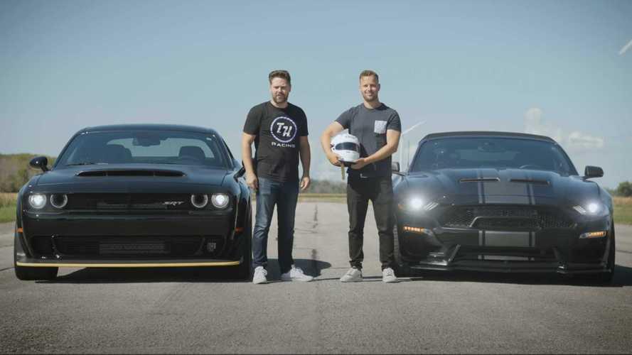 Dodge Demon Drag Races Shelby Super Snake For Street Superiority