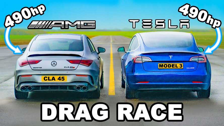 Tesla Model 3 Performance Drag Races 490 HP Mercedes CLA 45 AMG