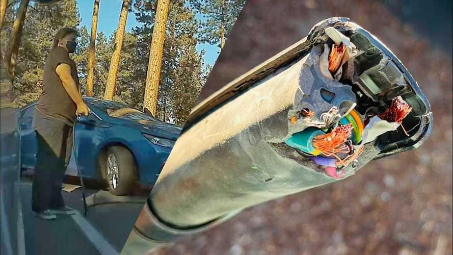 Maneuver Gone Wrong: Volt Driver Breaks Tesla Model 3 Charging Cable