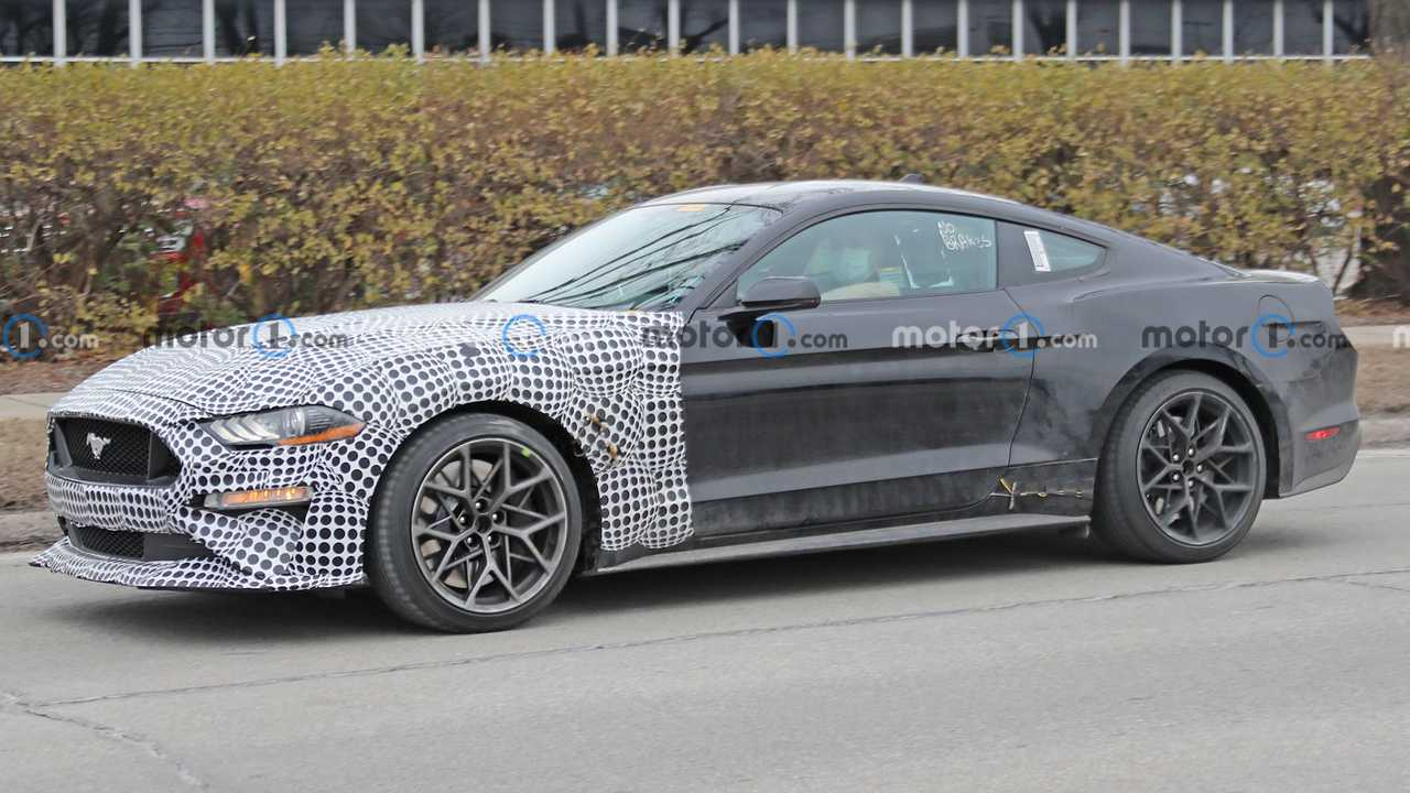 A camouflaged Mustang that might be a test mule for the next model