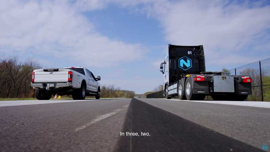 Watch Nikola Tre Semi Drag Race Ford F-350 Pickup Truck