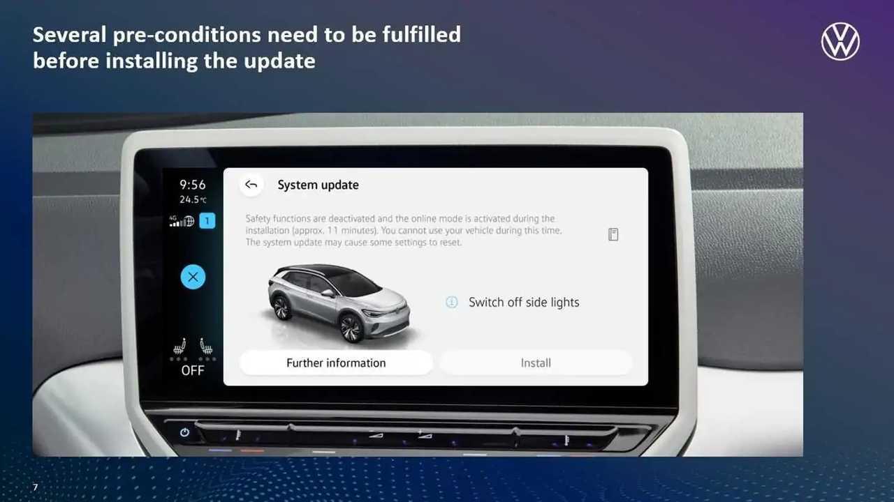 La schermata degli aggiornamenti software OTA Volkswagen