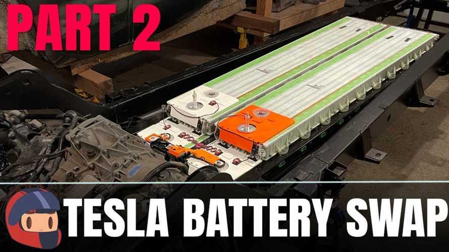 1950 Jaguar Tesla battery swap process continues