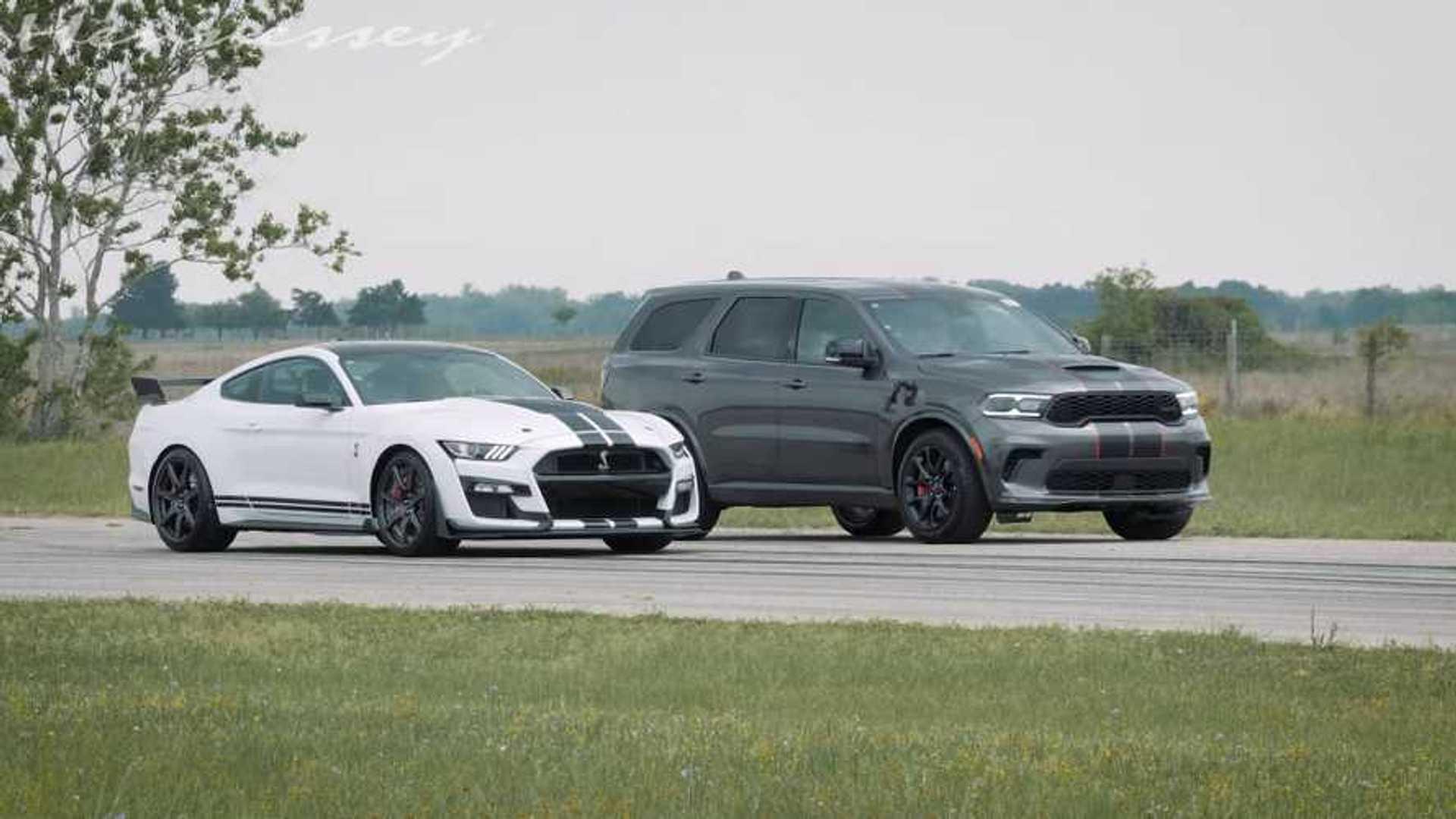Durango Hellcat Shocks Shelby GT500 In Stock Vs Stock Drag Race - Motor1