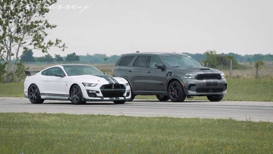 Durango Hellcat Shocks Shelby GT500 In Stock Vs Stock Drag Race