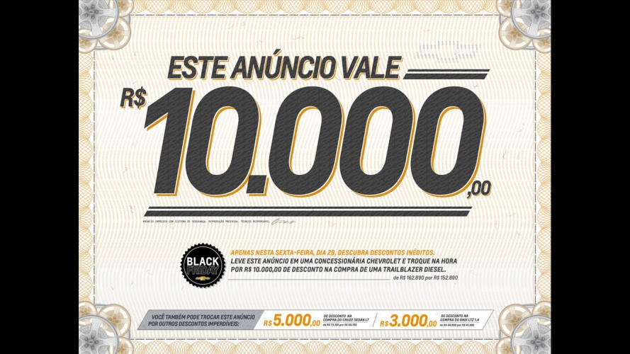 Chevrolet anuncia descontos de até R$ 10 mil na Black Friday