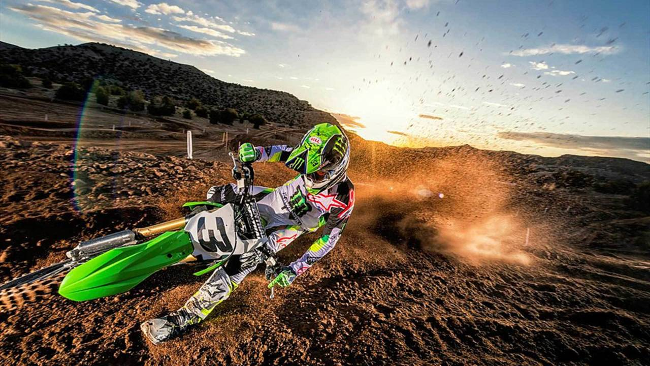 The KX450 gets down and dirty with ease.
