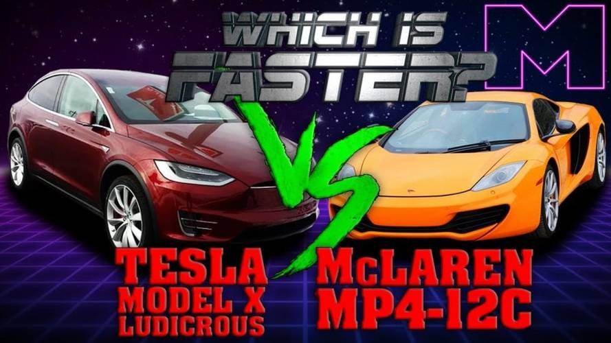 Watch Tesla Model X P90D Race McLaren MP4-12C
