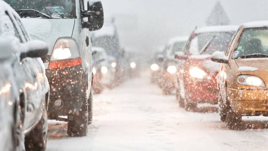 Traffic jam caused by heavy snow