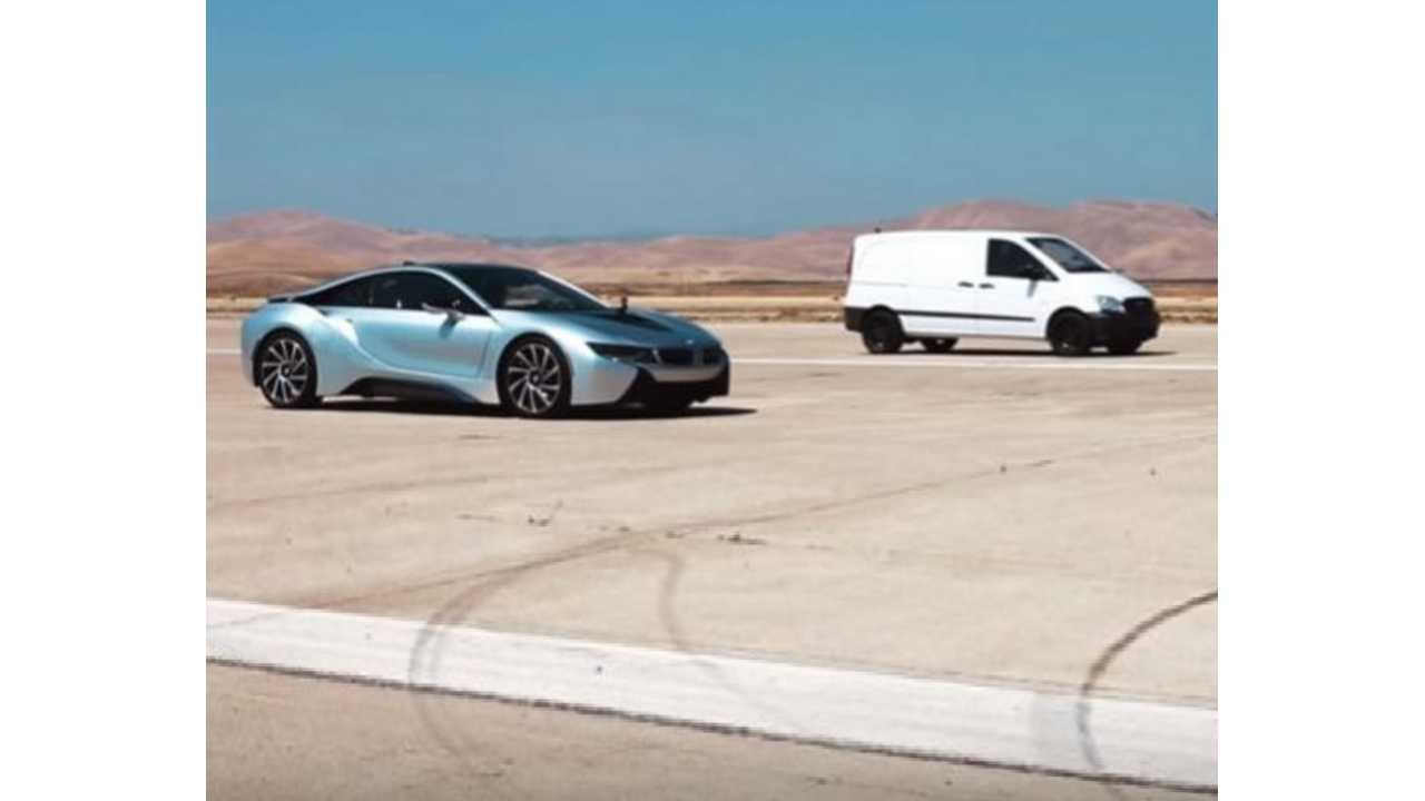 Atieva Edna Electric Van Schools BMW i8 and Dodge Viper, 0-60mph In Under 3 Seconds - Video