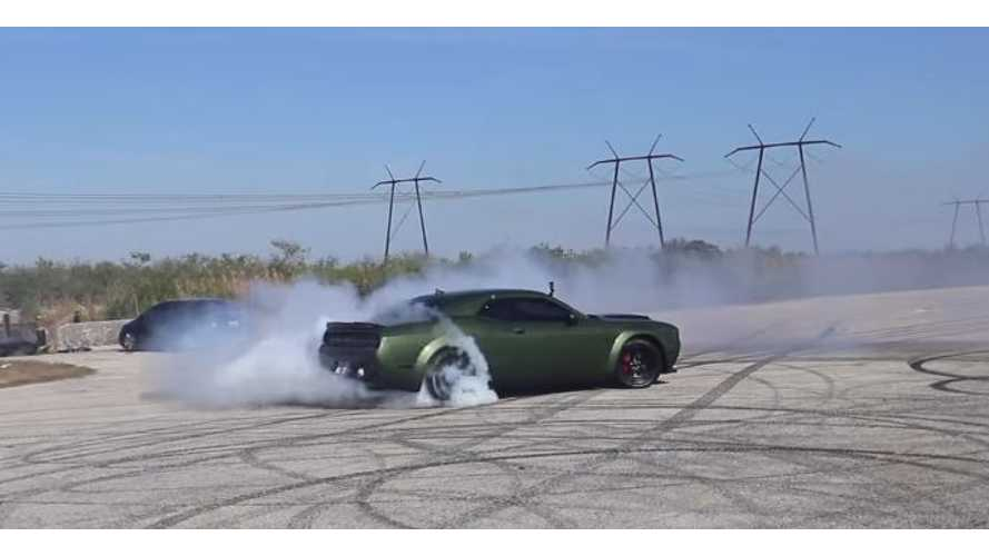 Watch Dodge Demon Melt Tires In Race Against Tesla Model S P100D