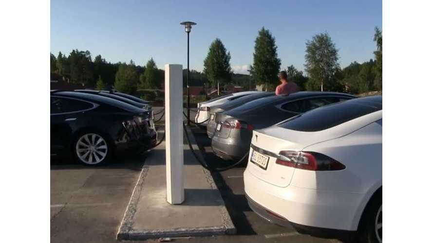 Tesla Superchargers In Norway Getting Overcrowded - Video