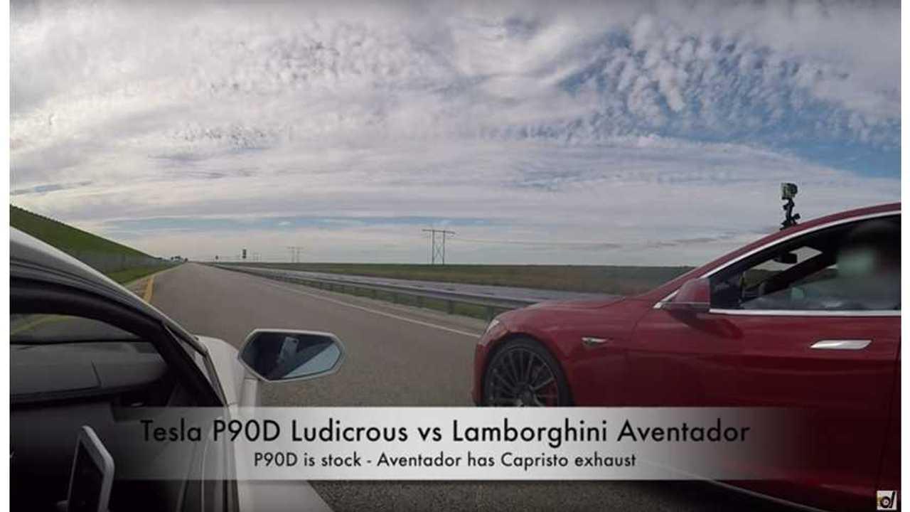 Tesla Model S P90D Ludicrous vs Lamborghini Aventador LP700-4 Drag Racing - DragTimes