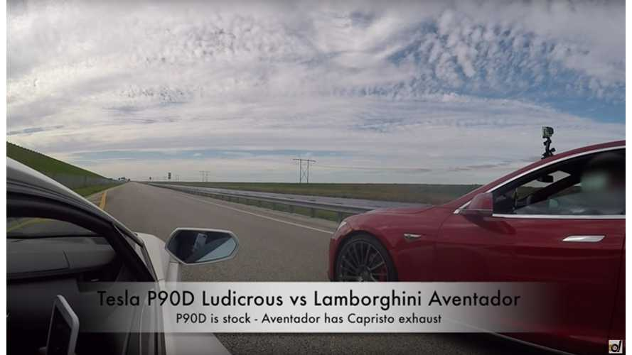 Tesla Model S P90D Ludicrous vs Lamborghini Aventador LP700-4 - Drag Race Video