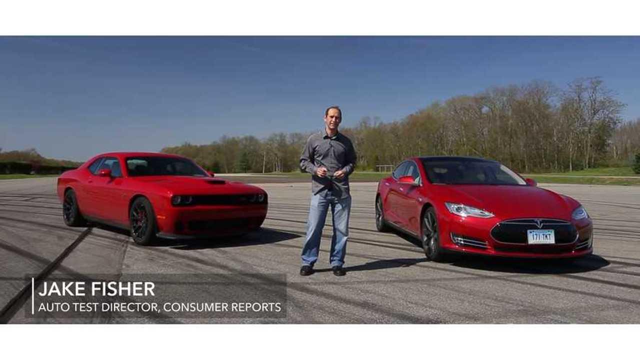 Consumer Reports Track Science: Tesla Model S P85D Versus Challenger Hellcat - Video