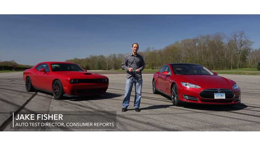 Consumer Reports Track Science: Tesla Model S P85D Versus Challenger Hellcat - Video