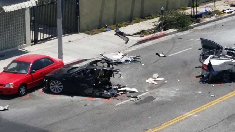 Additional Videos/Images From Latest Tesla Model S Crash In West Hollywood