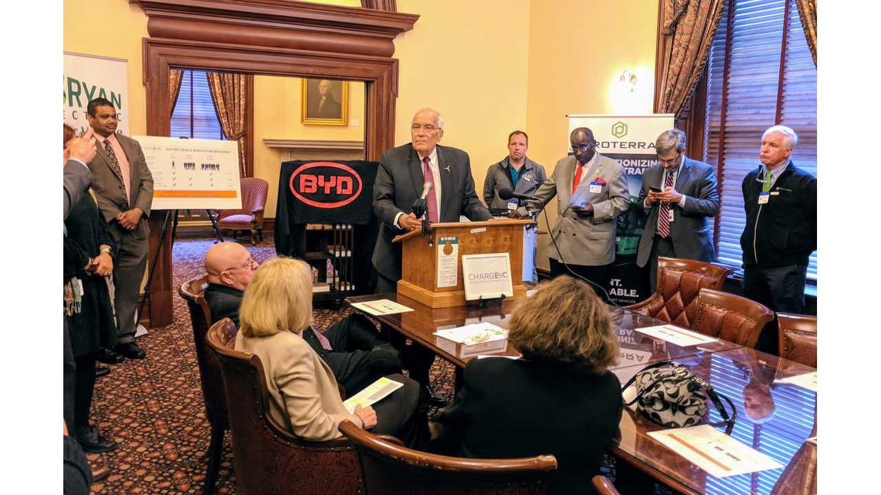 NJ Board of Public Uitilites President, Joseph L. Fiordaliso, was on hand Monday to speak of his support for the proposed EV infrastructure plan in New Jersey.