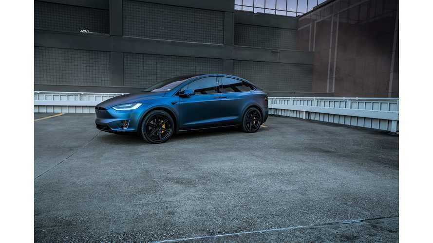 Tesla Model X P100D In Dark Blue Matte Metallic Stuns On ADV.1 Wheels